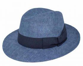 Cappello Fedora in Lino Azzurro.